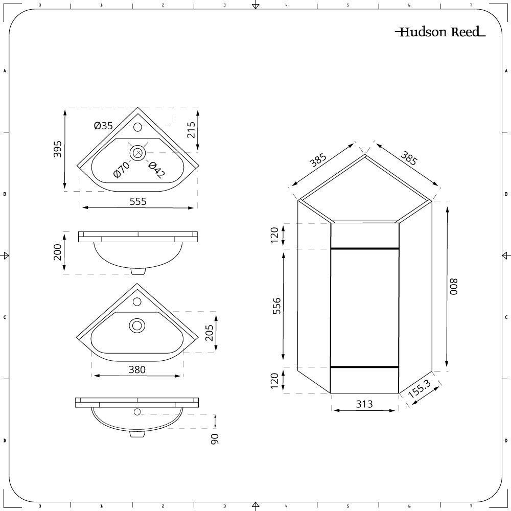 Lavelli Ad Angolo Misure mobile lavabo bagno ad angolo con 2 ante da 555mm