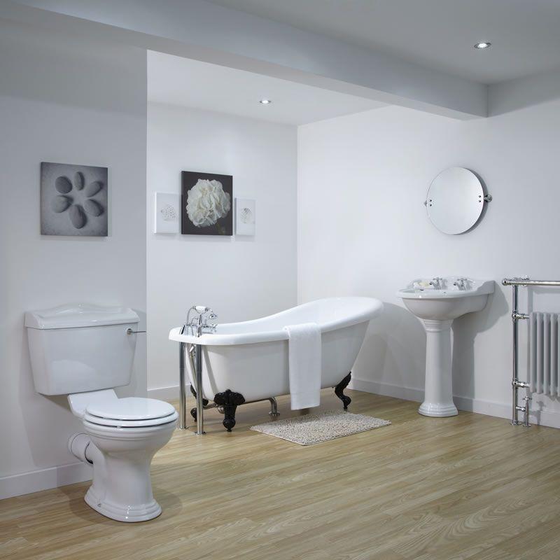 Set completo per stanza da bagno con vasca con piedini lavabo e sanitario in stile tradizionale - Vasche da bagno retro ...