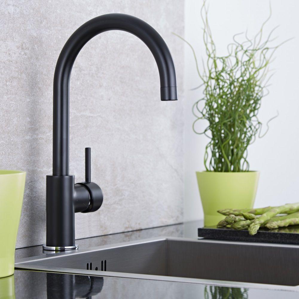 Rubinetto miscelatore lavello cucina colore nero - Scaldasalviette per cucina ...