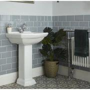 Lavabo su Colonna Tradizionale Quadrato Realizzato in Ceramica Bianca Predisposto per Rubinetteria Monoforo - Sandringham