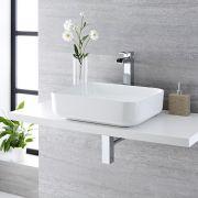 Lavabo Bagno da Appoggio Rettangolare in Ceramica 500x390mm Completo di Rubinetto Monoforo  – Milton