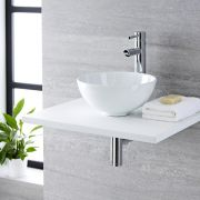 Lavabo Bagno da Appoggio Tondo in Ceramica 320x320mm  con Rubinetto Miscelatore - Ashbury