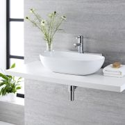 Lavabo Bagno da Appoggio Sospeso in Ceramica Ovale 555x395mm con Rubinetto Monoforo - Otterton