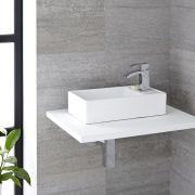 Lavabo Bagno da Appoggio Sospeso in Ceramica Rettangolare 400x220mm Con Mini Rubinetto Miscelatore – Halwell