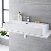 Lavabo Bagno da Appoggio Sospeso Rettangolare in Ceramica 1000x420mm con Mini Rubinetto Miscelatore Lavabo - Sandford