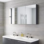 Mobile da Bagno Sospeso con Specchio 1350x150x700mm - Grigio