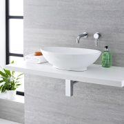 Lavabo Bagno da Appoggio in ceramica Ovale 520x320mm con Rubinetto Miscelatore Murale - Kenton