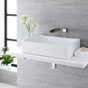 Lavabo Bagno da Appoggio Quadrato in Ceramica 360x360mm con Rubinetto a Cascata - Haldon