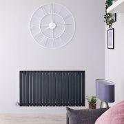 Radiatore di Design Elettrico Orizzontale - Antracite - 635mm x 1180mm x 53mm  - 2 Elementi Termostatici 800W  - Sloane