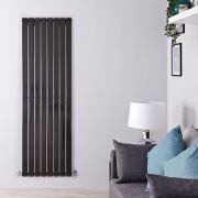 Radiatore di Design Verticale - Nero Lucido - 1600mm x 560mm x 47mm - 1172 Watt - Delta