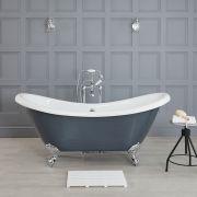 Vasca da Bagno Centro Stanza Tradizionale 1750mm x 730mm Colore Grigio Pietra Opaco – Elton