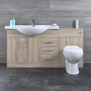 Mobile di Bagno di Colore Rovere con Lavabo e Sanitario Integrato - 1532x835x850mm  - Classic Oak