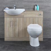 Mobile Bagno Colore Rovere con Lavabo e Sanitario Integrato 835x1132x820mm - Classic Oak