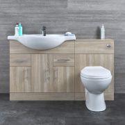 Mobile Bagno Colore Rovere con Lavabo e Sanitario Integrato 1335x850x835mm -  Classic Oak