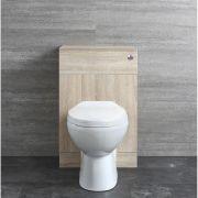 Set Mobile WC 500mm Completo di Sanitario Filo Parete, Cassetta e Sedile - Classic Oak
