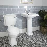 Set Bagno Completo di Lavabo Monoforo su Colonna in Stile Classico Completo di  Sanitario e Cassetta in Ceramica Bianca e Copriwater - Oxford
