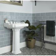 Lavabo su Colonna Tradizionale Realizzato in Ceramica Bianca Predispost per Rubinetteria a 3 Fori - Oxford