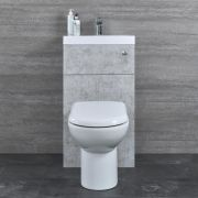 Set Bagno Completo con Lavabo e Sanitario Integrato Minimalist Colore Grigio Calcestruzzo