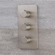 Miscelatore Doccia Termostatico Moderno Triplo a 3 Vie con Deviatore Colore Nichel con Finitura Spazzolata - Harting