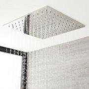 Soffione Doccia da Incasso Quadrato a Soffitto Quadrato 400x400mm Effetto Pioggia e Cascata  Acciaio Inox – Trenton
