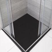 Piatto Doccia Quadrato Effetto Pietra Colore Grigio Grafite 800mm  - Rockwell
