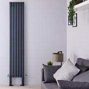 Radiatore di Design Verticale Doppio con Piedini di Supporto - Antracite - 2000mm x 354mm x 78mm - 1401 Watt - Revive Plus