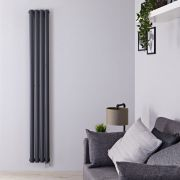 Radiatore di Design Elettrico Verticale Doppio - Antracite - 1780mm x 236mm x 78mm  - 1 Elemento Termostatico 1200W  - Revive