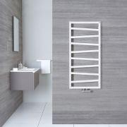 Scaldasalviette di Design Verticale con Attacco Centrale - Bianco - 1070mm x 500mm x 30mm - 514 Watt - Torun