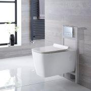 Sanitario Bagno WC Quadrato Sospeso Completo con Coprivaso, Telaio con Cassetta ad Incasso con Placca di Comando per WC A Doppio Pulsante -  Sandford