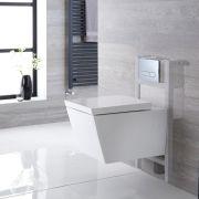 Sanitario Bagno WC Quadrato Sospeso Completo con Coprivaso, Telaio con Cassetta ad Incasso con Placca di Comando per WC A Doppio Pulsante -  Halwell