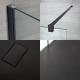Kit Box Doccia Walk-In 1400 x 800 mm con Piatto Doccia in Antracite e Profilo in Nero