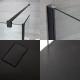 Kit Doccia Walk-In 1400 x 800 mm con Antra di Vetro Paraspruzzi di 250 mm , Profilo in Nero e Piatto Doccia in Antracite
