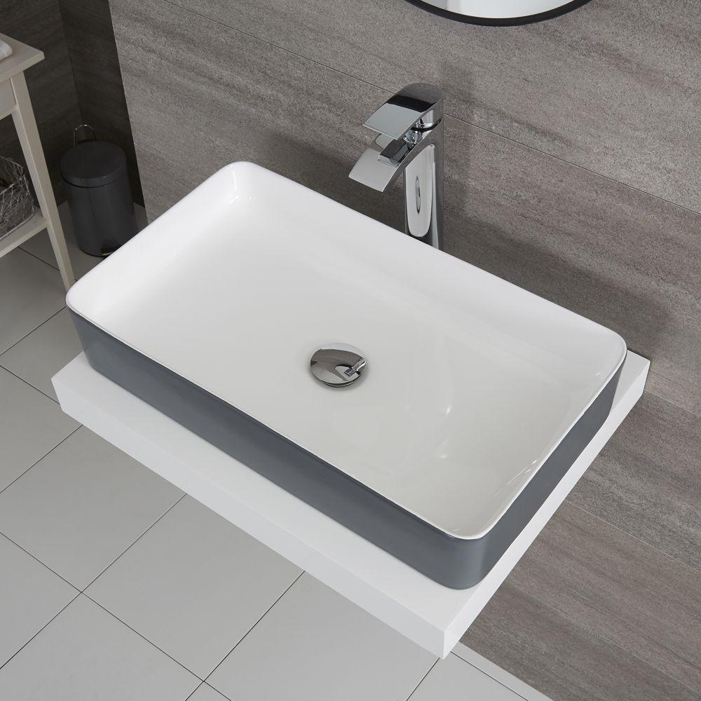 Lavabo da Appoggio Rettangolare 610x350mm Ceramica di Colore Grigio Pietra  Perfetto per Qualsiasi Soprapiano - Witton