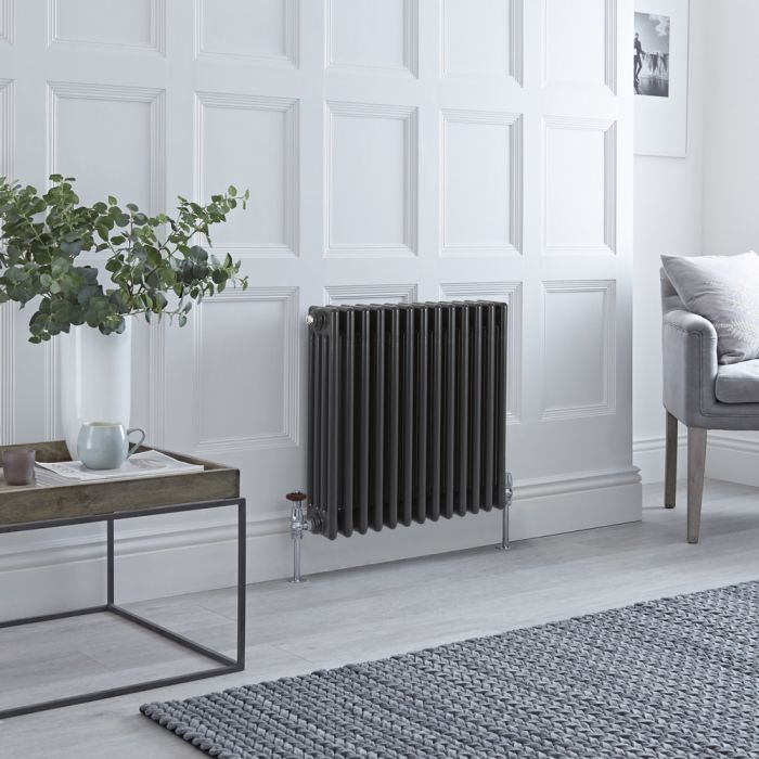Stelrad Regal Hudson Reed – Radiatore Orizzontale Antracite in Stile Ghisa - 600mm x 628mm (Quattro Colonne)