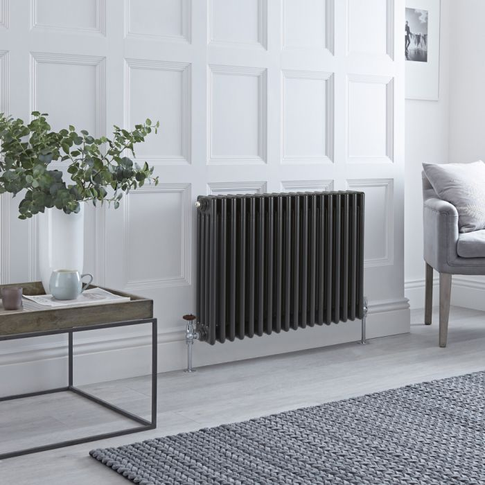 Stelrad Regal Hudson Reed – Radiatore Orizzontale Antracite in Stile Ghisa - 600mm x 858mm (Quattro Colonne)