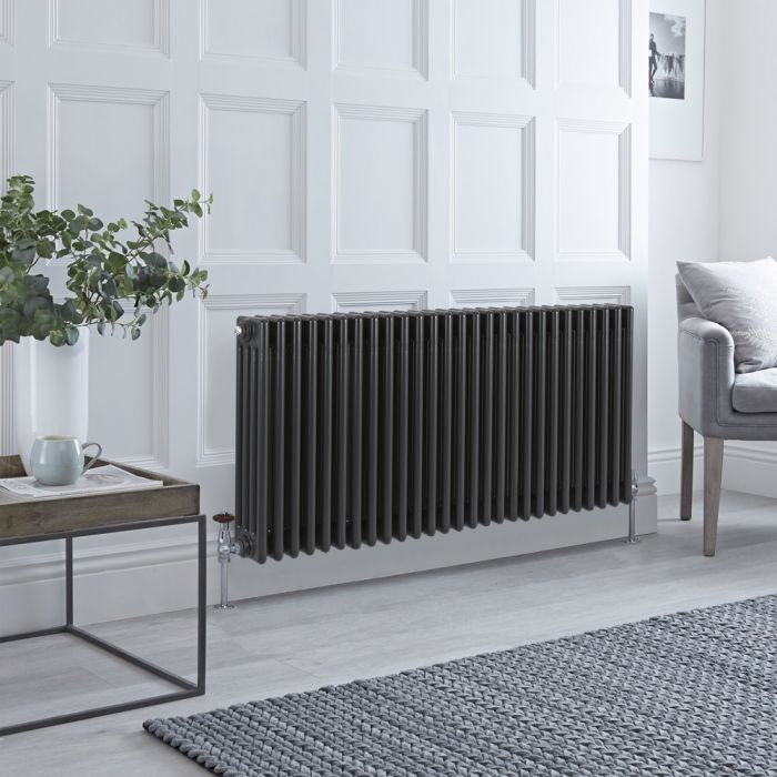 Stelrad Regal Hudson Reed – Radiatore Orizzontale Antracite in Stile Ghisa - 600mm x 1272mm (Quattro Colonne)