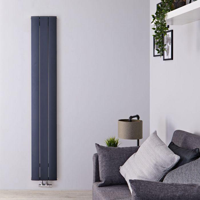 Radiatore di Design Verticale con Attacco Centrale - Alluminio - Antracite - 1600mm x 280mm x 46mm - 920 Watt - Aurora