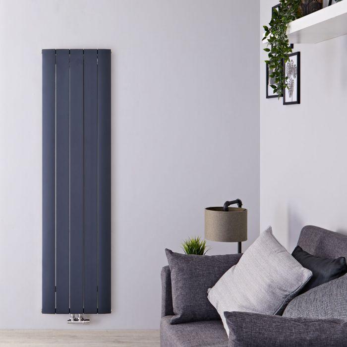 Radiatore di Design Verticale con Attacco Centrale - Alluminio - Antracite - 1600mm x 470mm x 46mm - 1533 Watt - Aurora