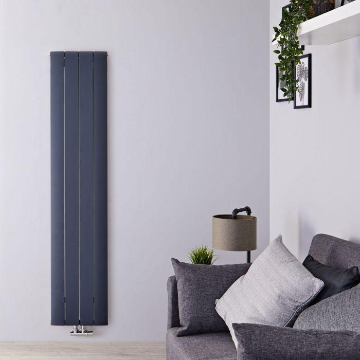 Radiatore di Design Verticale con Attacco Centrale - Alluminio - Antracite - 1800mm x 375mm x 46mm - 1384 Watt - Aurora