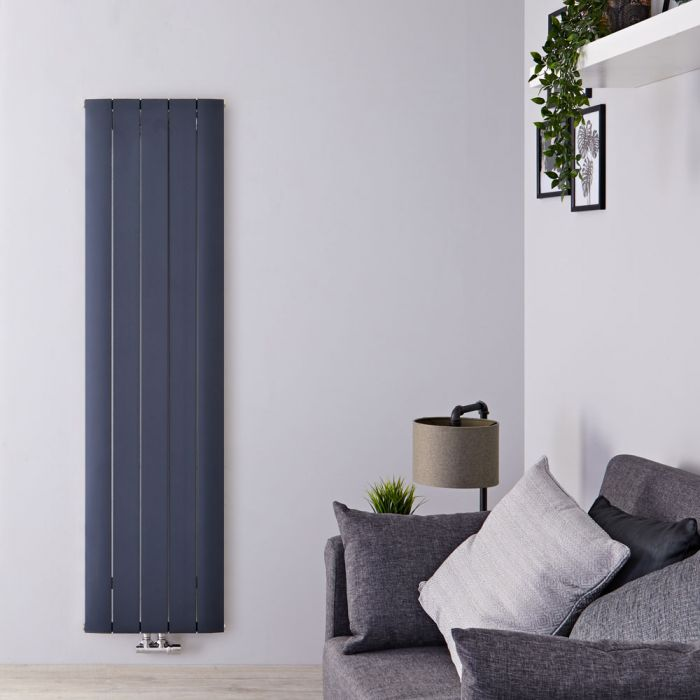 Radiatore di Design Verticale con Attacco Centrale - Alluminio - Antracite - 1800mm x 470mm x 46mm - 1729 Watt - Aurora