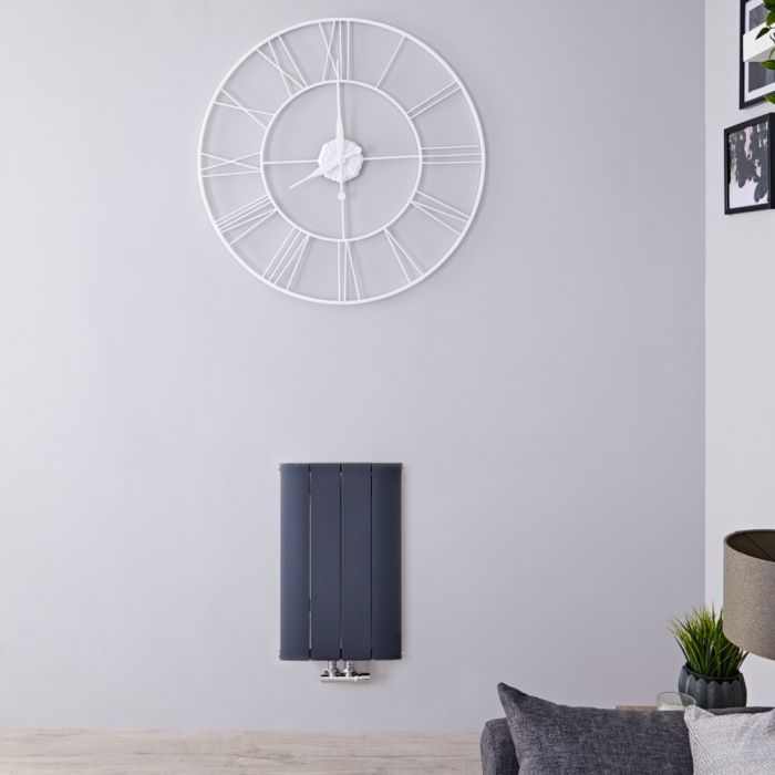 Radiatore di Design Orizzontale con Attacco Centrale - Alluminio - Antracite - 600mm x 375mm x 45mm - 461 Watt - Aurora