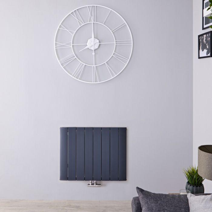 Radiatore di Design Orizzontale con Attacco Centrale - Alluminio - Antracite - 600mm x 755mm x 46mm - 922 Watt - Aurora