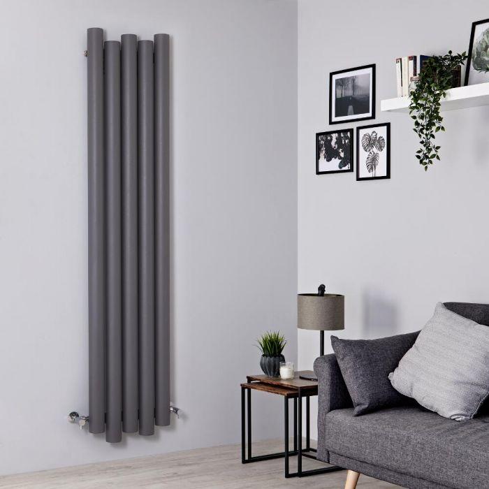 Radiatore di Design Verticale - Alluminio - Grigio Chiaro - 1800mm x 390mm - 1170 Watt - Laeto