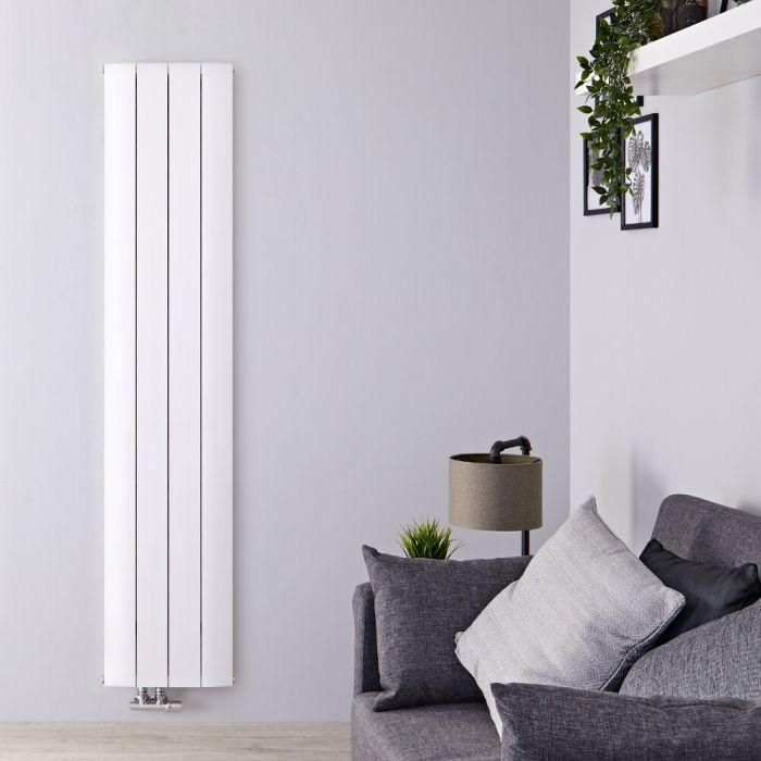 Radiatore di Design Verticale con Attacco Centrale - Alluminio - Bianco - 1600mm x 375mm x 45mm - 1226 Watt - Aurora
