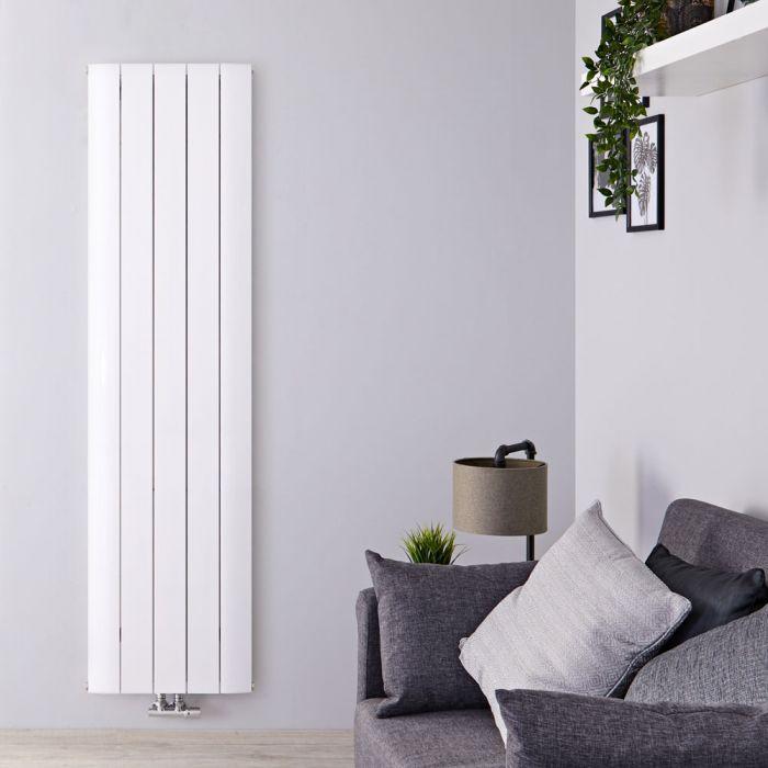 Radiatore di Design Verticale con Attacco Centrale - Alluminio - Bianco - 1600mm x 470mm x 46mm - 1533 Watt - Aurora