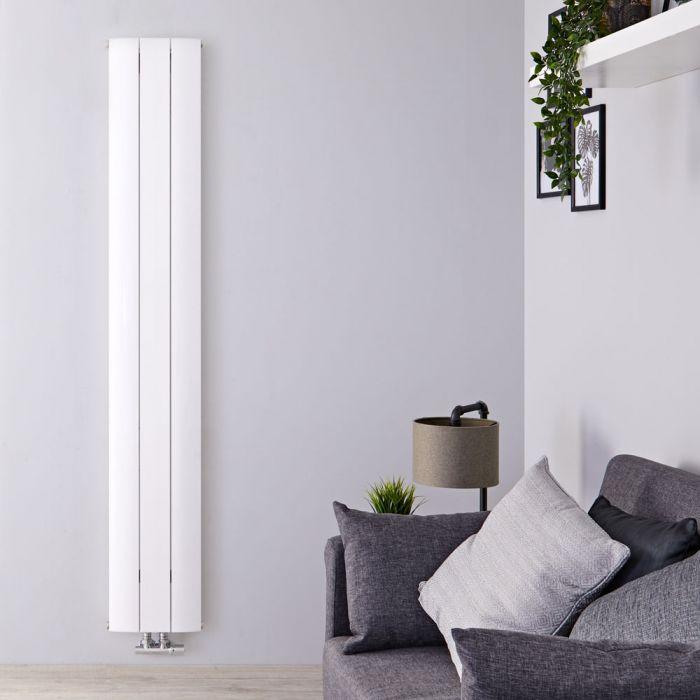 Radiatore di Design Verticale con Attacco Centrale - Alluminio - Bianco - 1800mm x 280mm x 46mm - 1038 Watt - Aurora