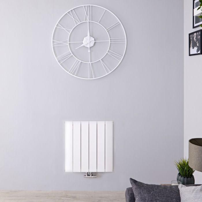 Radiatore di Design Orizzontale con Attacco Centrale - Alluminio - Bianco - 600mm x 565mm x 46mm - 692 Watt - Aurora