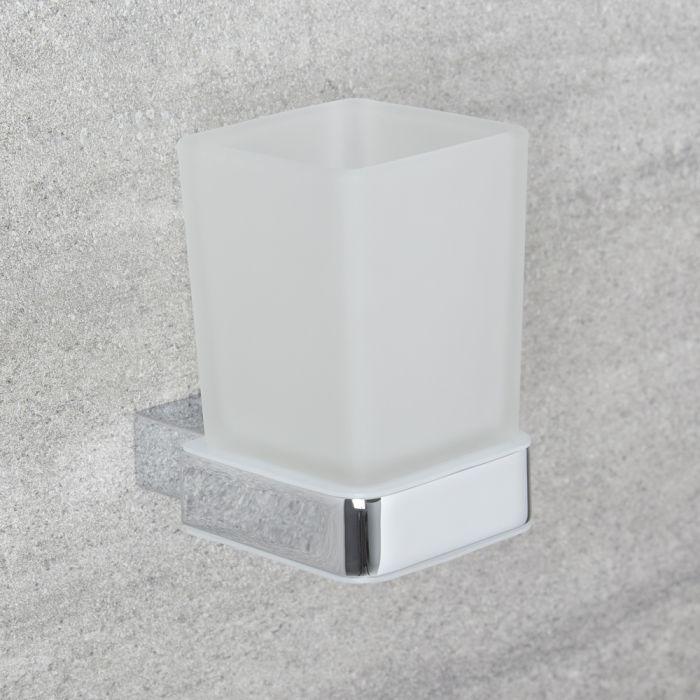 Bicchiere Porta Spazzolino in Vetro Trasparente e Porta Bicchiere Murale Cromato Minimal
