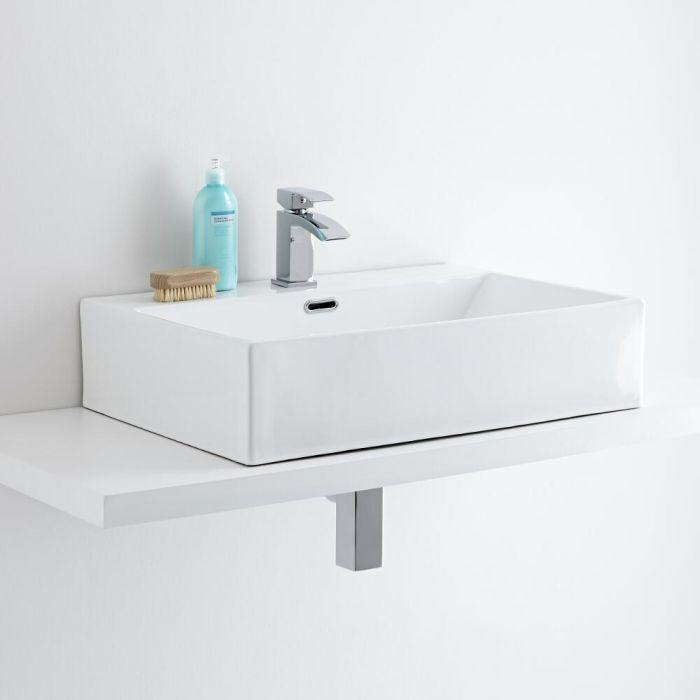Lavabo Bagno da Appoggio Rettangolare in Ceramica 600x420mm con Mini Rubinetto Miscelatore