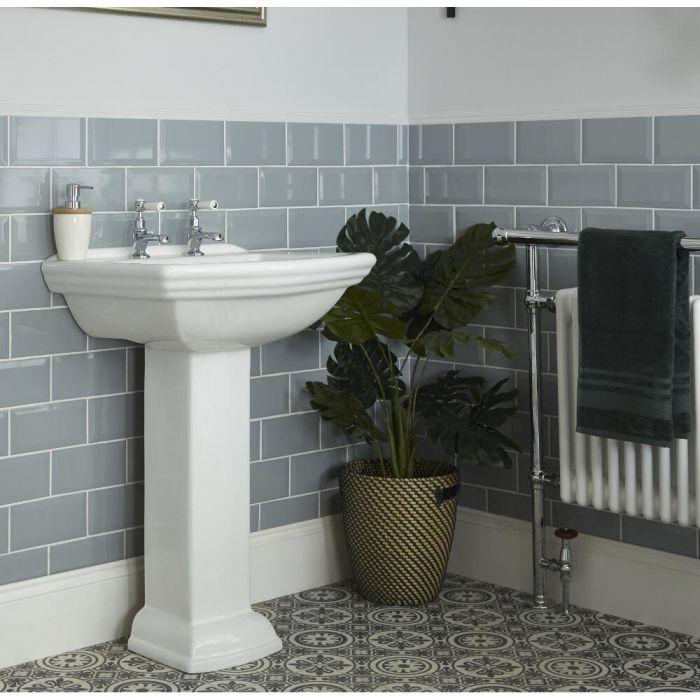 Lavabo su Colonna Tradizionale Quadrato Realizzato in Ceramica Bianca Predisposto per Rubinetteria a 2 Fori - Chester